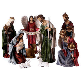Multicolour Nativity scene in 8 pieces 32 cm s1