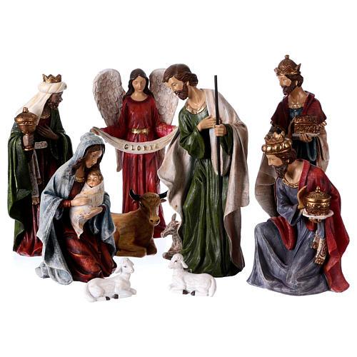 Multicolored Nativity Scene 32 cm, set of 8 figurines 1