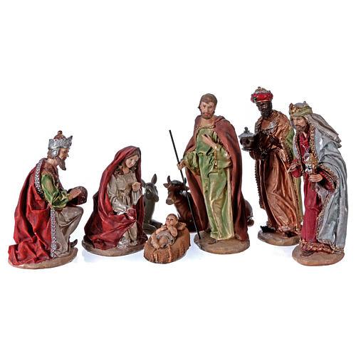 Colored Nativity Scene 28 cm, set of 8 figurines 1