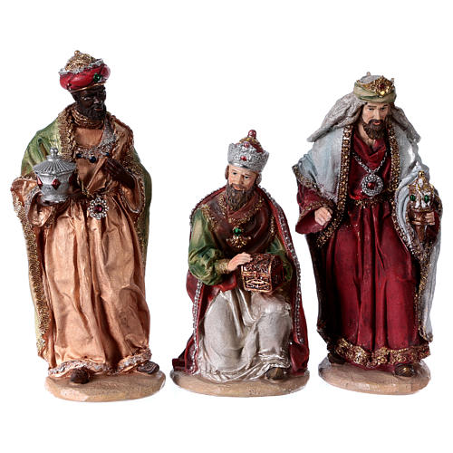 Colored Nativity Scene 28 cm, set of 8 figurines 3