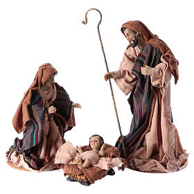 Nativity in 3 pieces, resin and fabric 26 cm s1