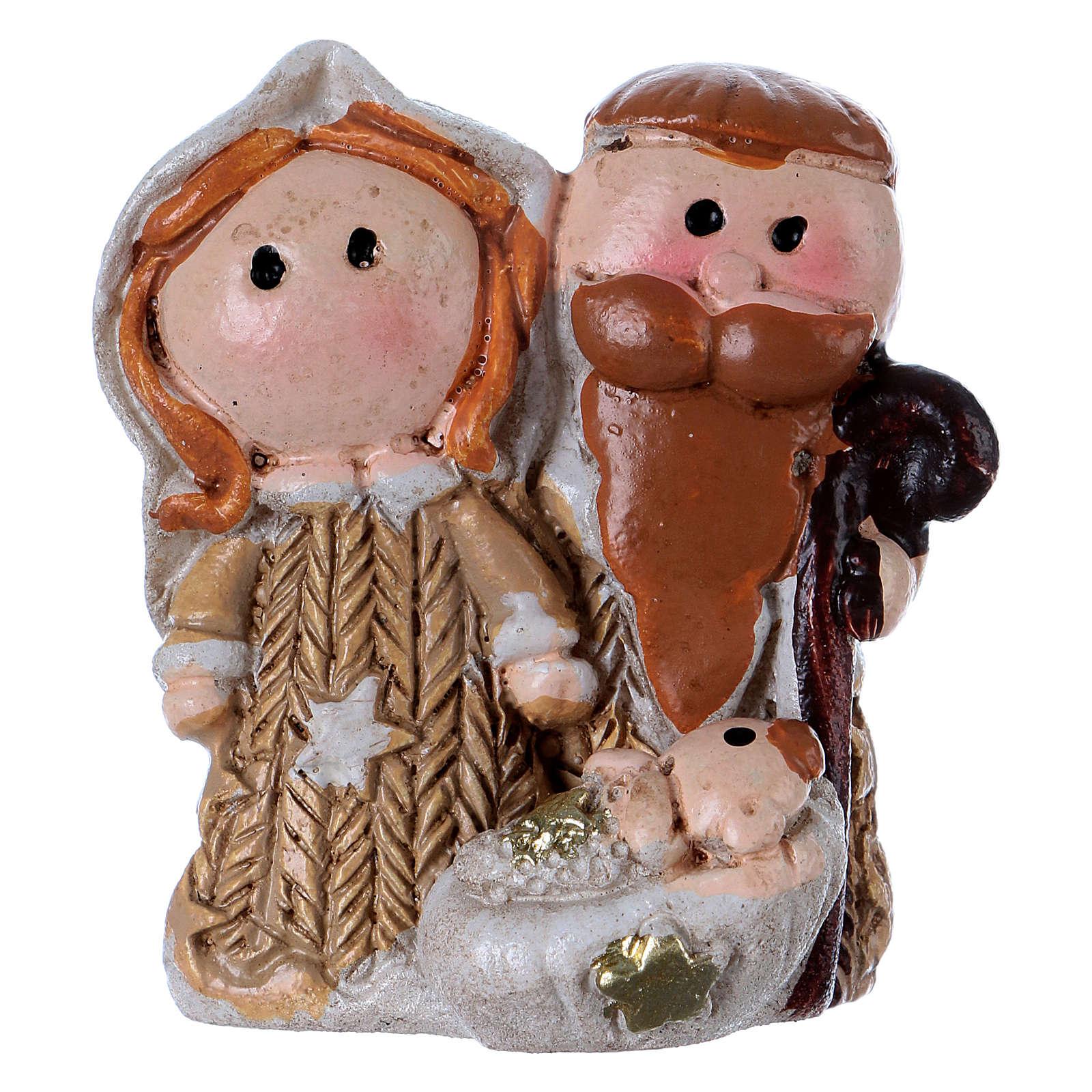 Natività in resina colorata con Gesù bambino 3,5 cm 3