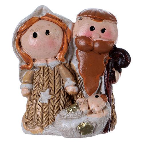 Natività in resina colorata con Gesù bambino 3,5 cm 1