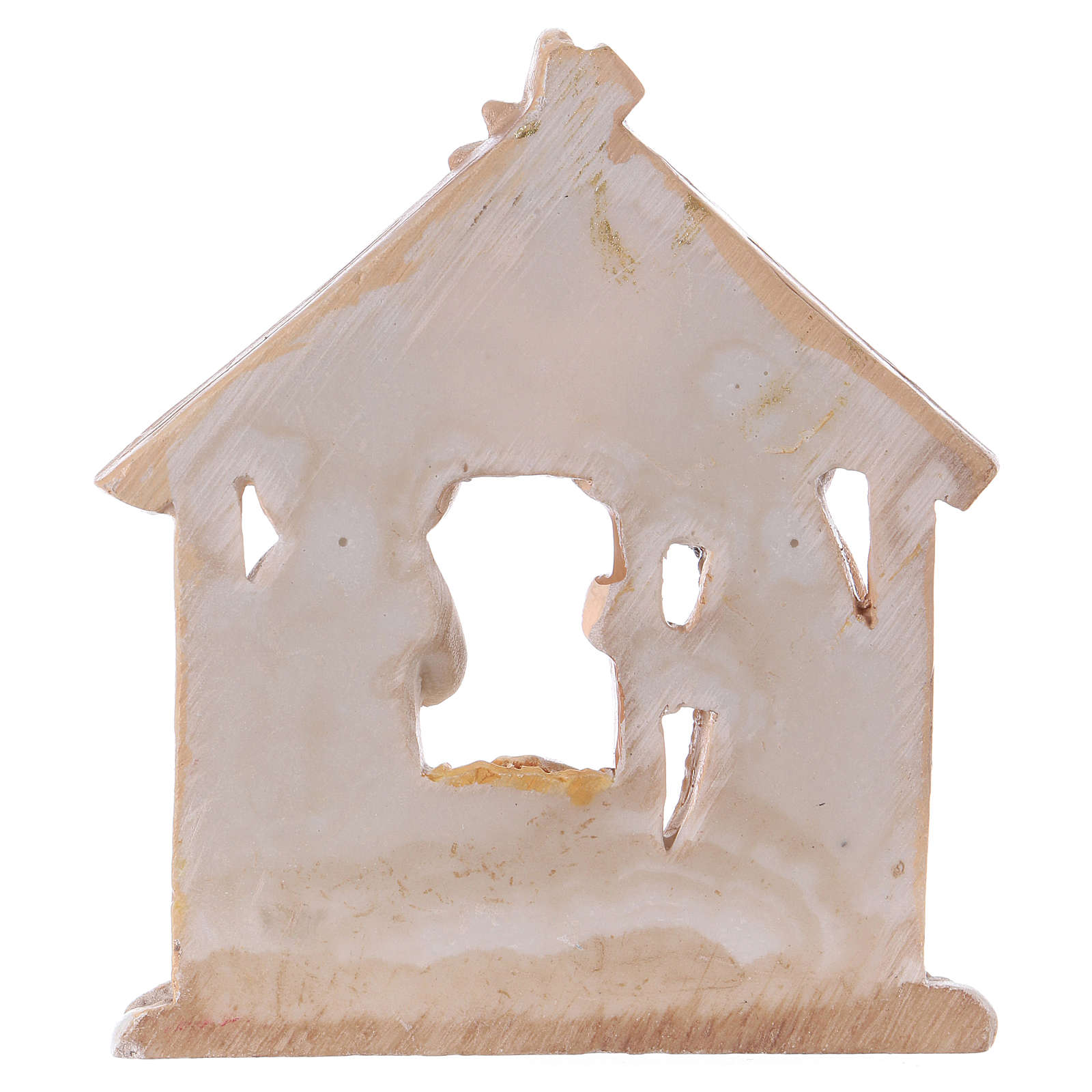 Nativity with Stable in colored resin 7.5 cm 3