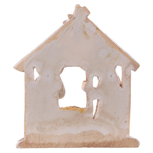 Nativity with Stable in colored resin 7.5 cm 2
