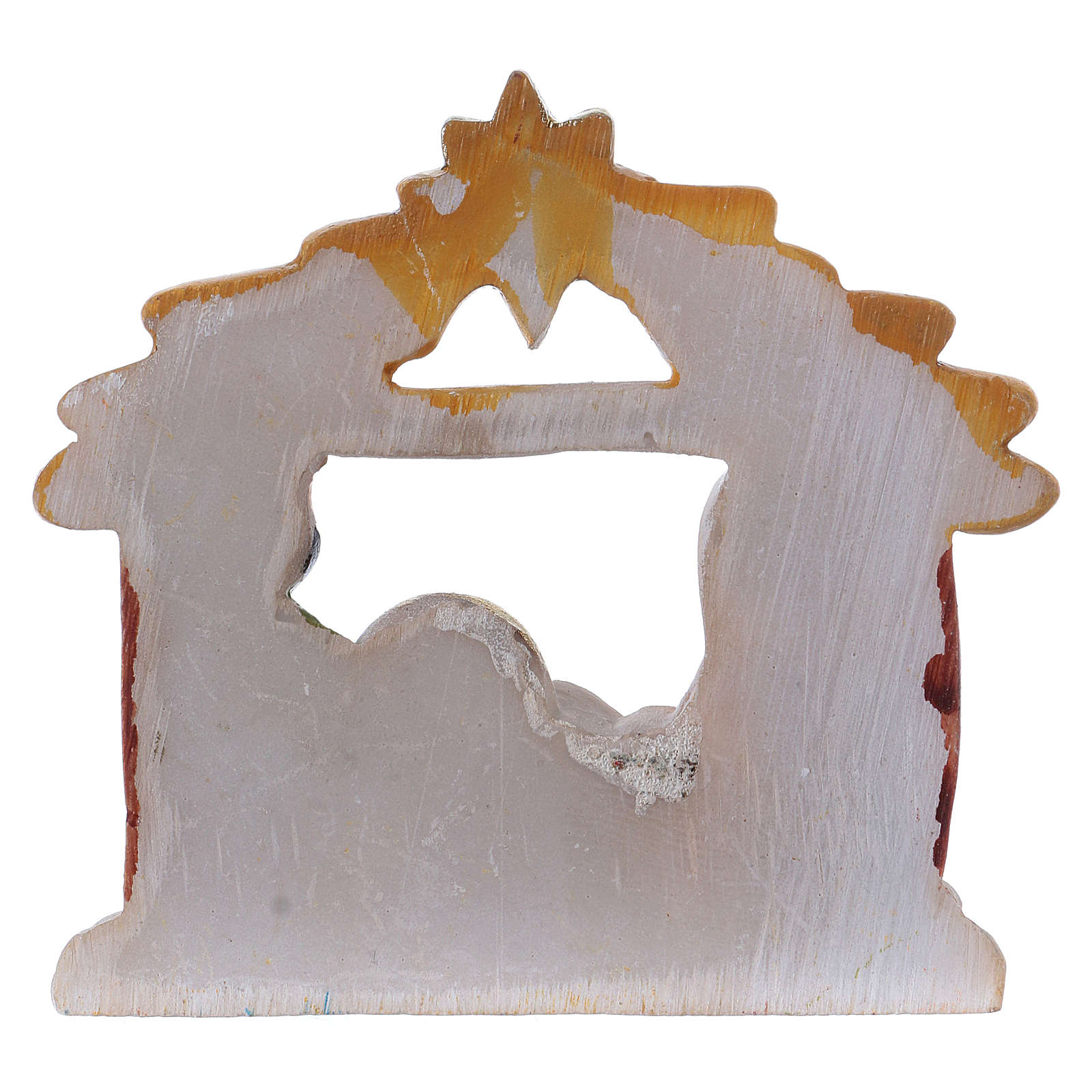 Natività in resina dipinta con capanna 6,5 cm 3