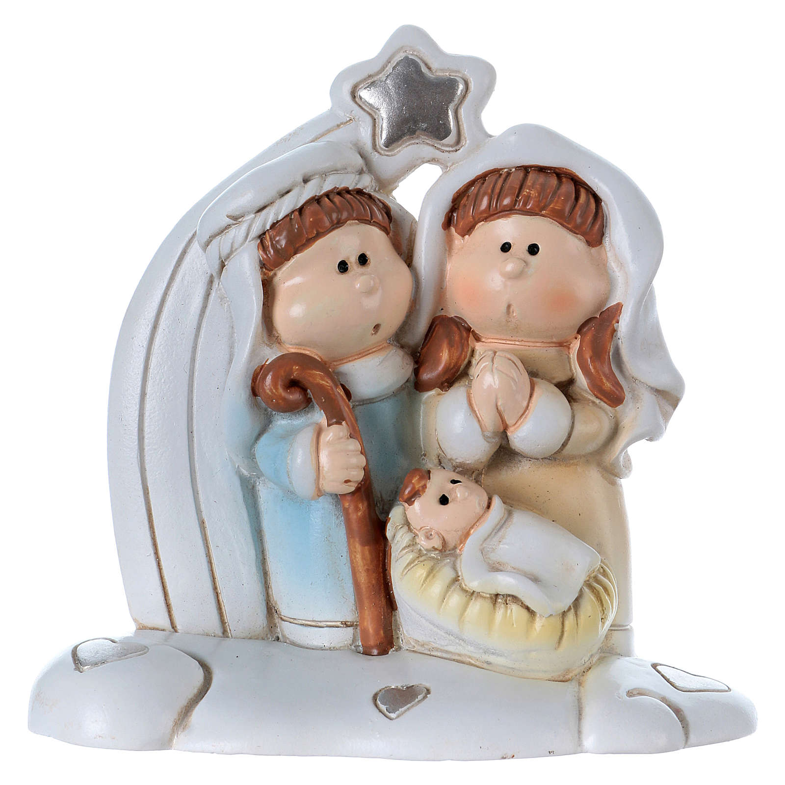 Nativity in painted resin 8 cm 3
