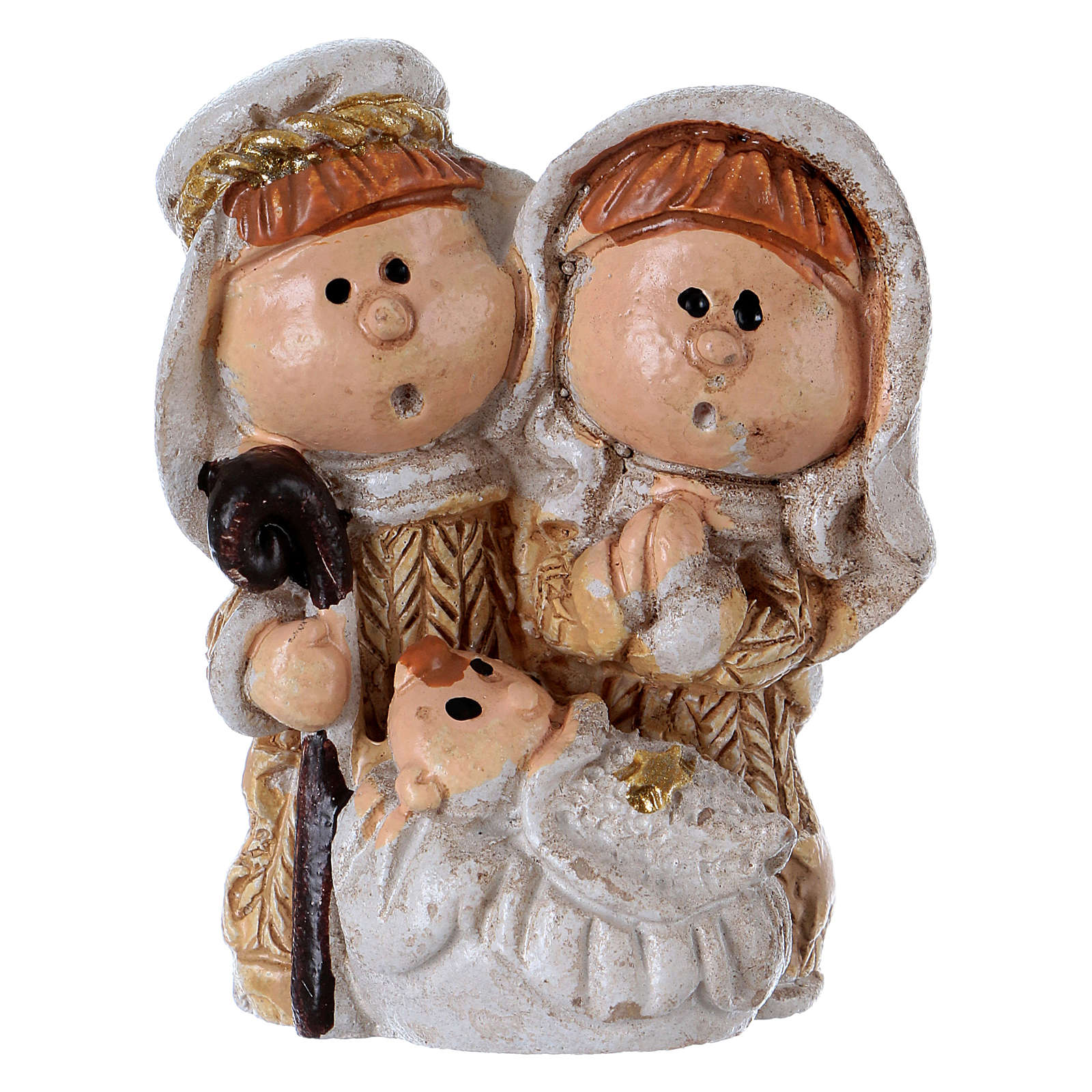 Holy Family in painted resin 3.5 cm 3