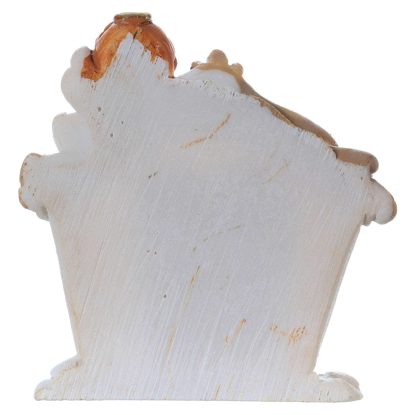 Sacra Famiglia in resina colorata con angelo 5 cm 3