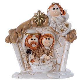Sacra Famiglia in resina colorata con angelo 5 cm s1