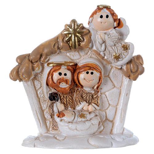 Sacra Famiglia in resina colorata con angelo 5 cm 1