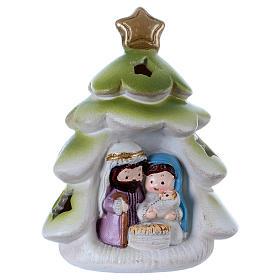 Nacimiento: Árbol de Navidad con Sagrada Familia luces interiores 9 cm