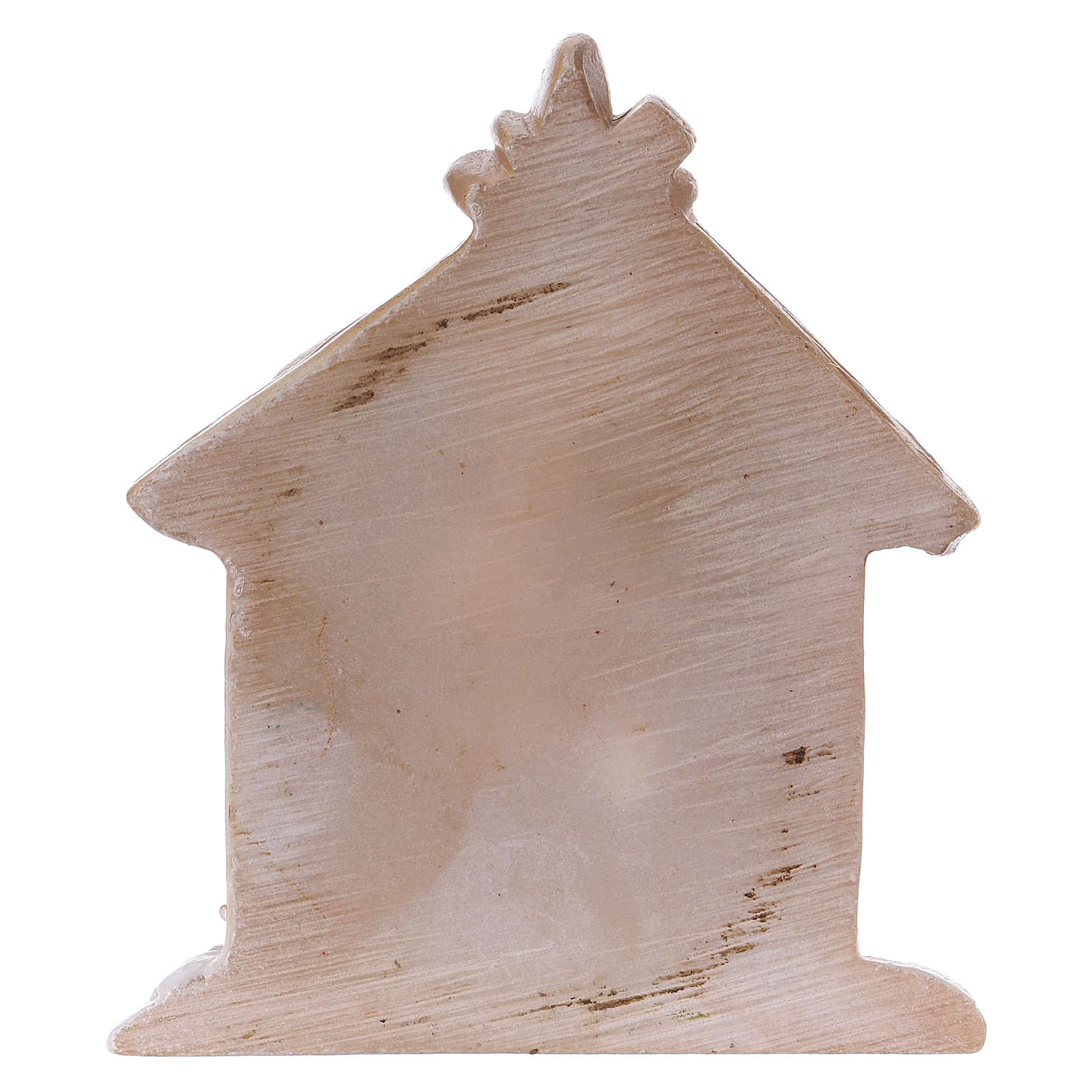 Holy Family in painted resin with shack 5 cm 3
