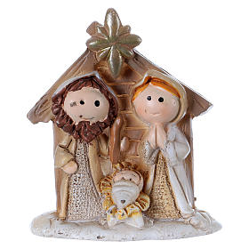 Holy Family in painted resin with shack 5 cm s1
