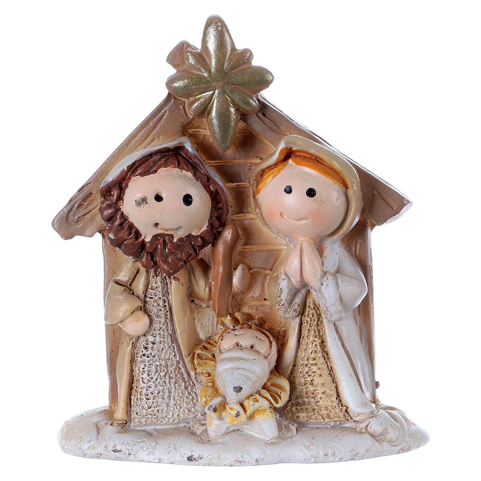 Sacra Famiglia in resina colorata con capanna 5 cm 3