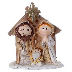 Sacra Famiglia in resina colorata con capanna 5 cm s1