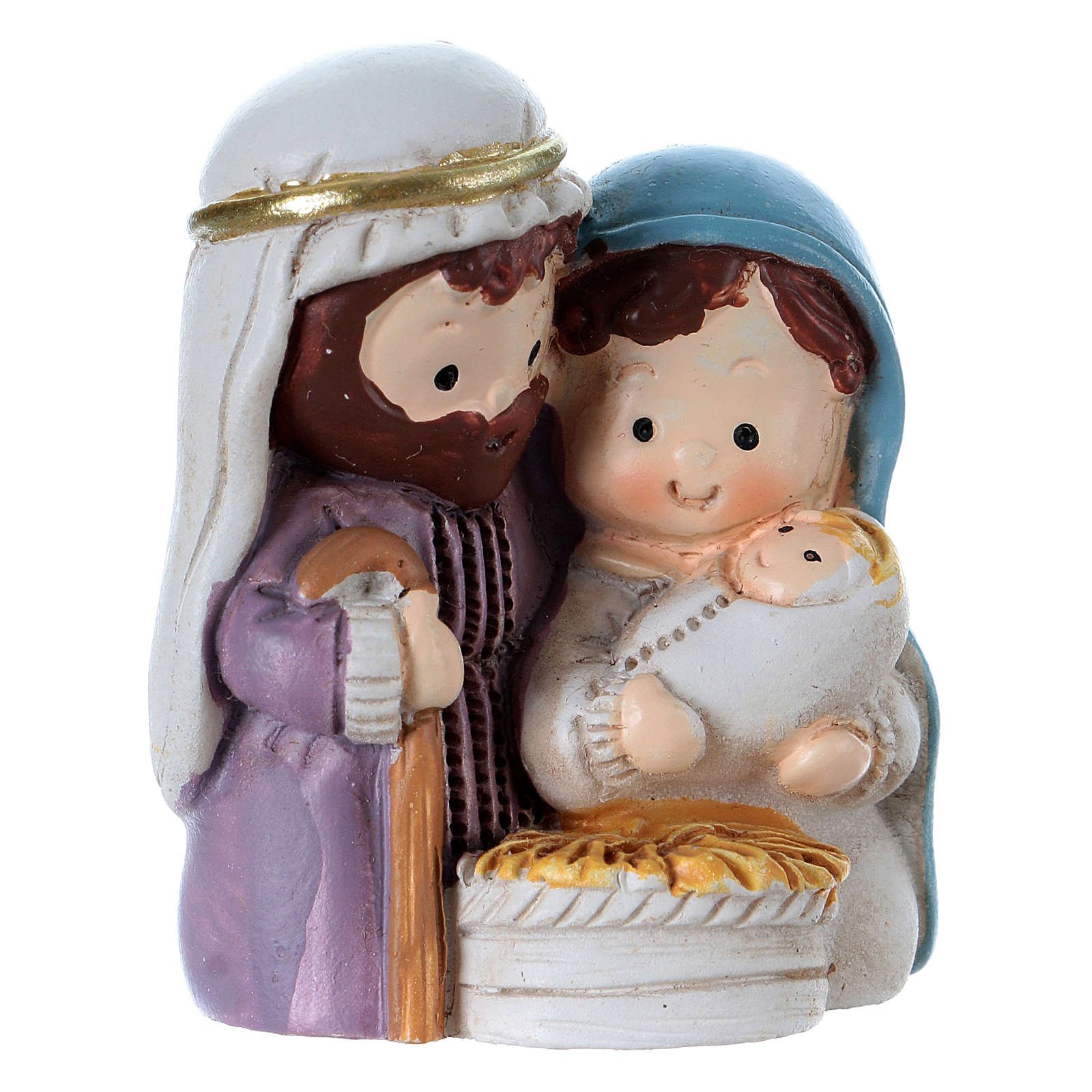 Nativity in painted resin 3.5 cm 3
