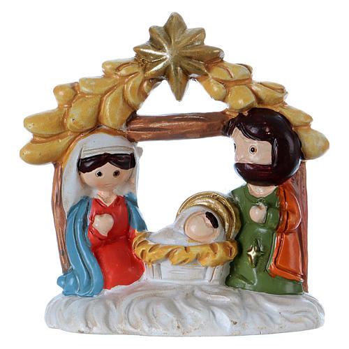 Sacra Famiglia in resina con capanna 5 cm 1