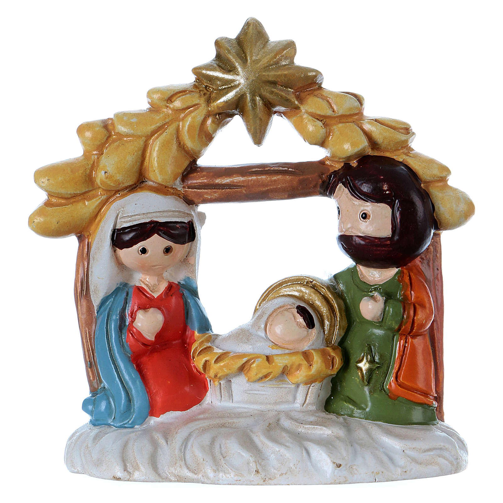 Holy Family figurine with stable in painted resin 5 cm 3