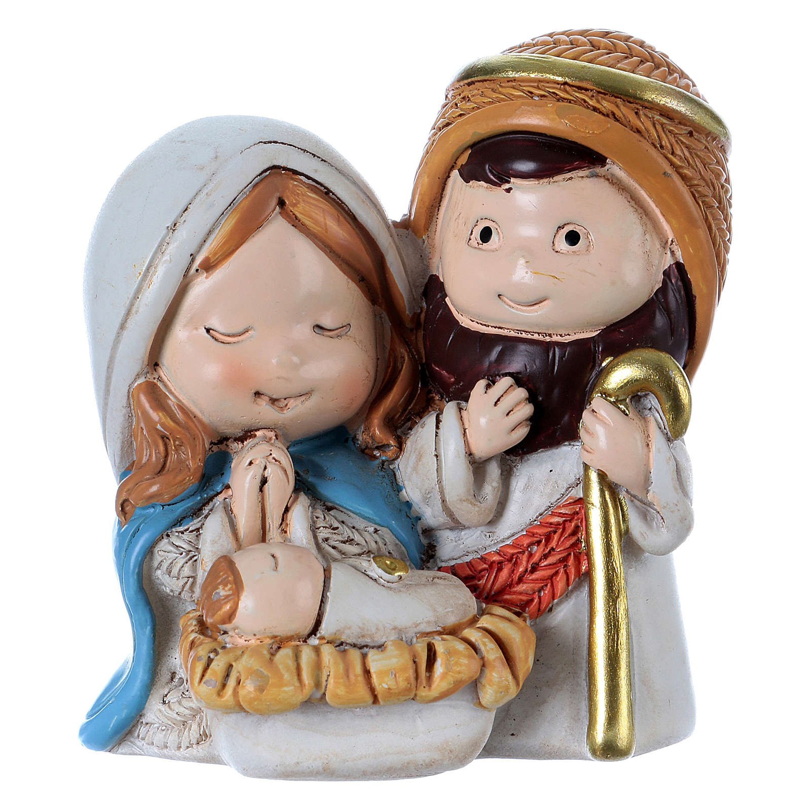 Holy Family in painted resin 4.5 cm 3