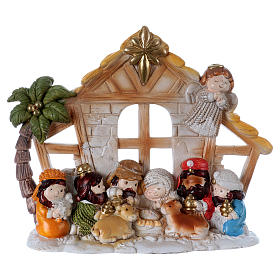 Nativity sets: Nativity scene in resin with 10 characters 15 cm