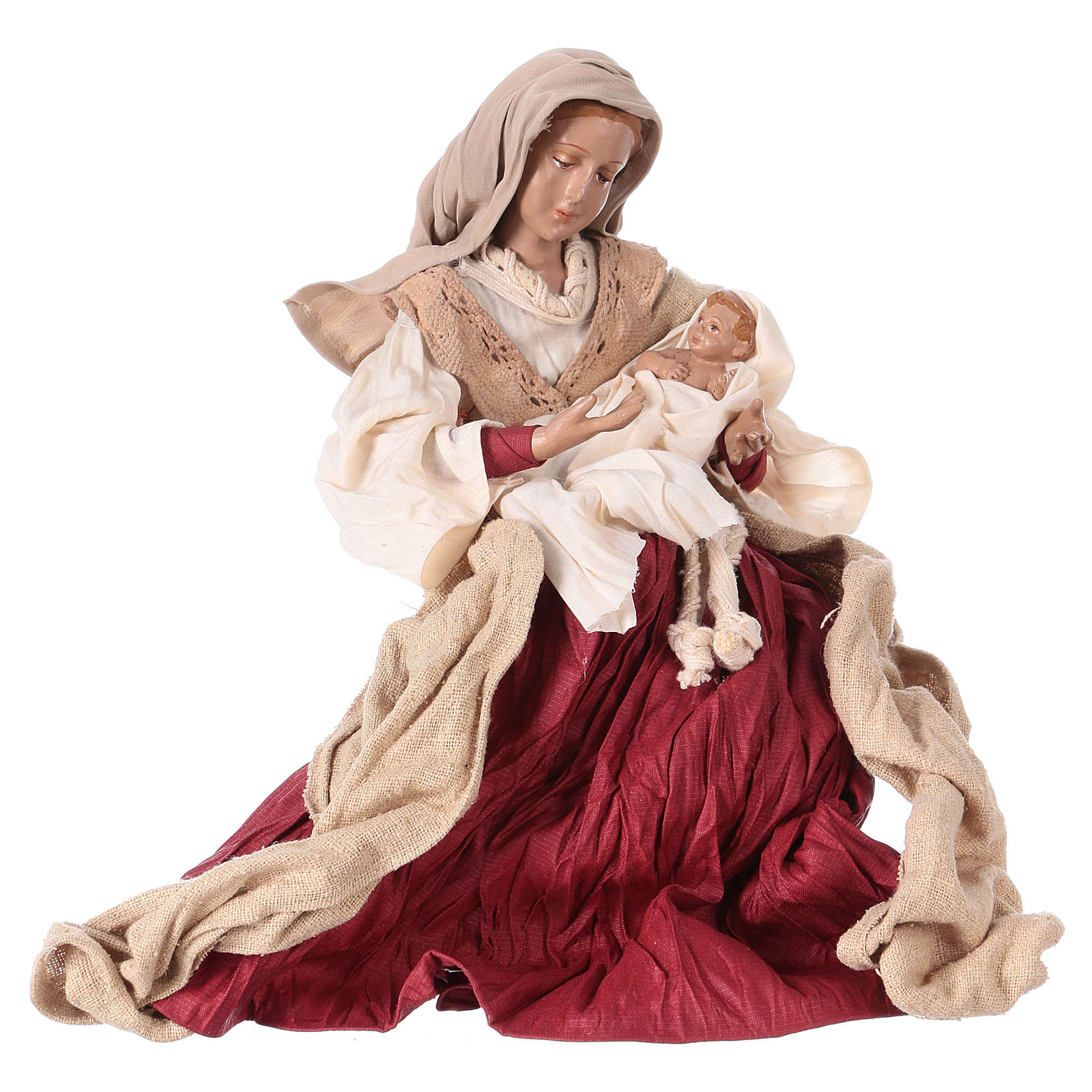 Holy Family 31 cm resin and ivory and burgundy cloth 3