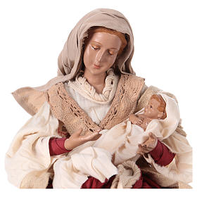 Holy Family 31 cm resin and ivory and burgundy cloth s2