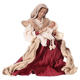 Holy Family 31 cm resin and ivory and burgundy cloth s3