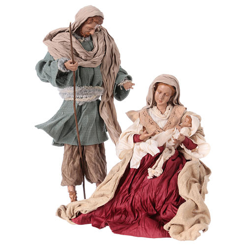 Holy Family 31 cm resin and ivory and burgundy cloth 1