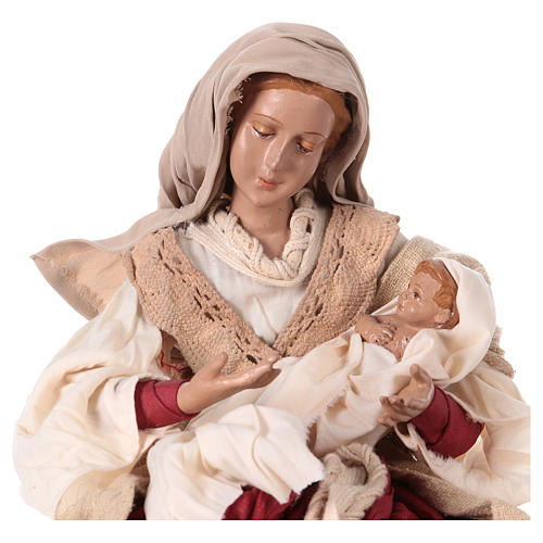 Holy Family 31 cm resin and ivory and burgundy cloth 2