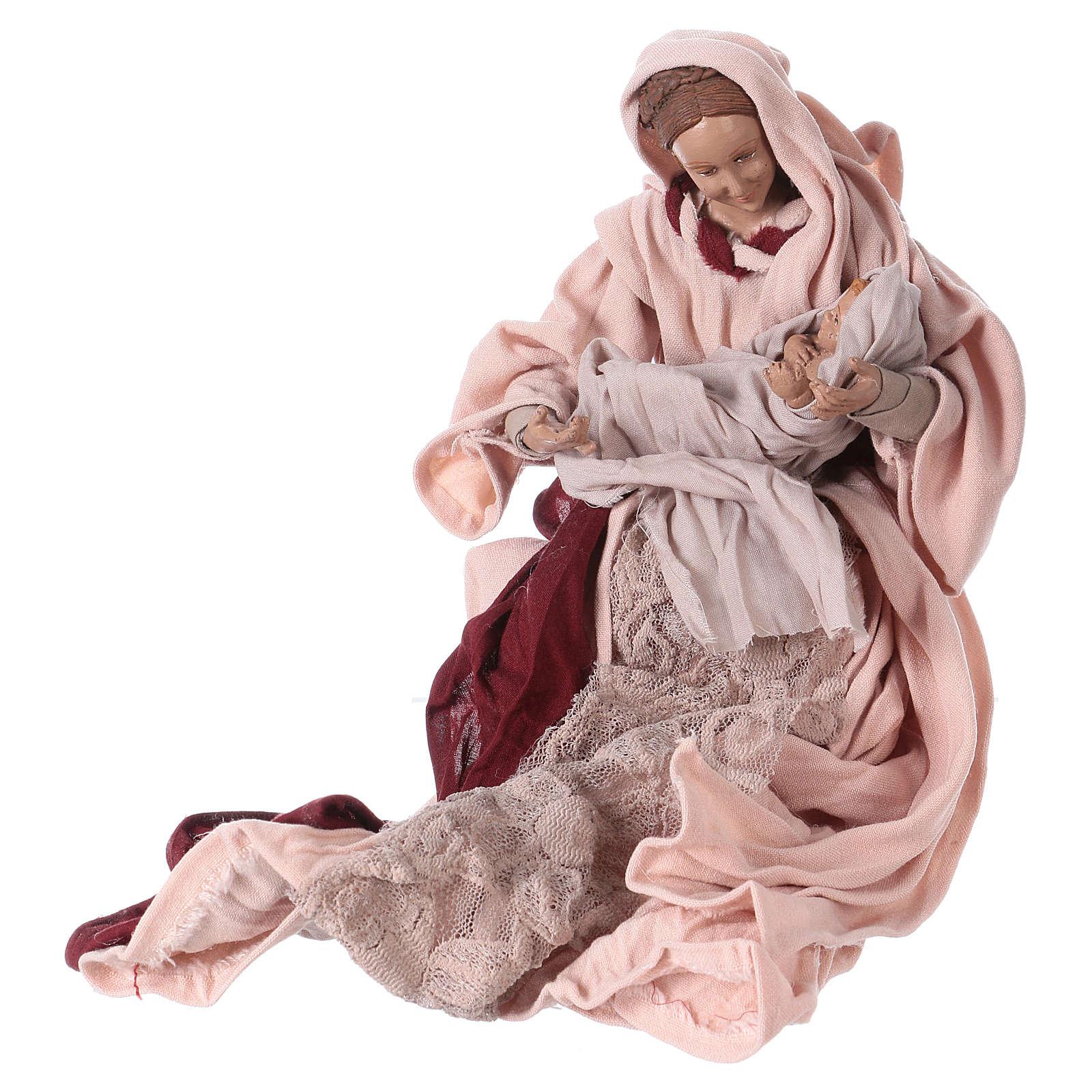 Nativité 25 cm résine tissu rose et bordeaux 3