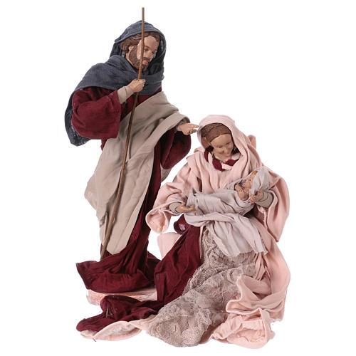 Nativité 25 cm résine tissu rose et bordeaux 1