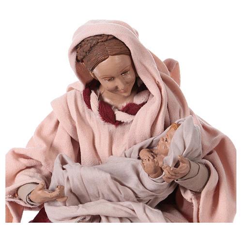Nativité 25 cm résine tissu rose et bordeaux 2