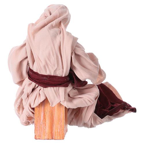 Nativité 25 cm résine tissu rose et bordeaux 5