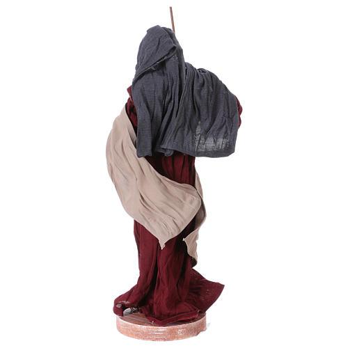Nativité 25 cm résine tissu rose et bordeaux 6