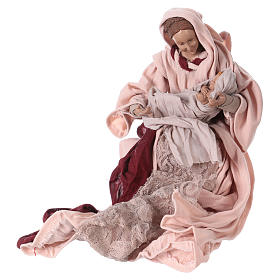 Nativity Scene 25 cm resin fabric pink burgundy s3