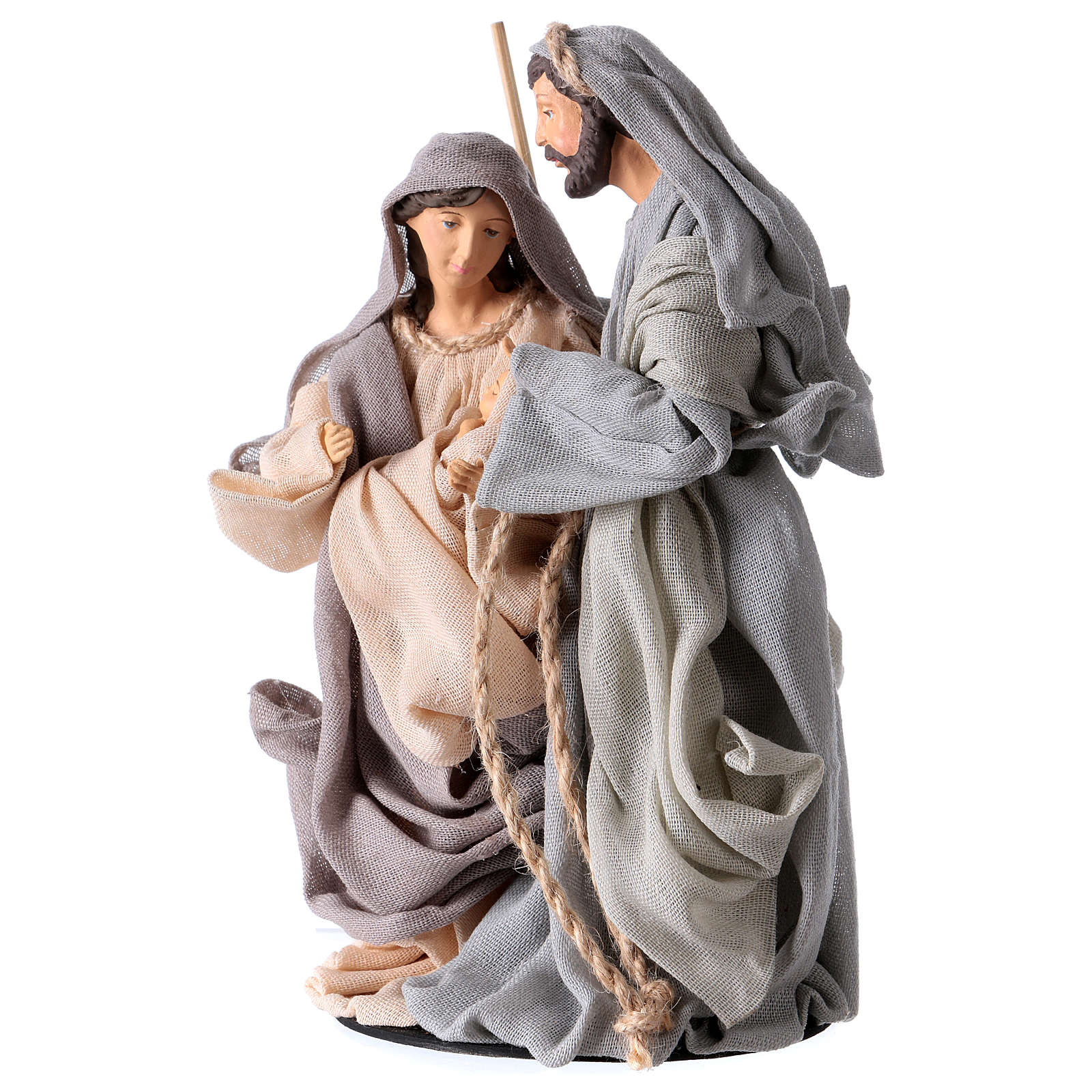 Holy Family 20 cm resin and grey and pink antiqued cloth Shabby Chic style 3