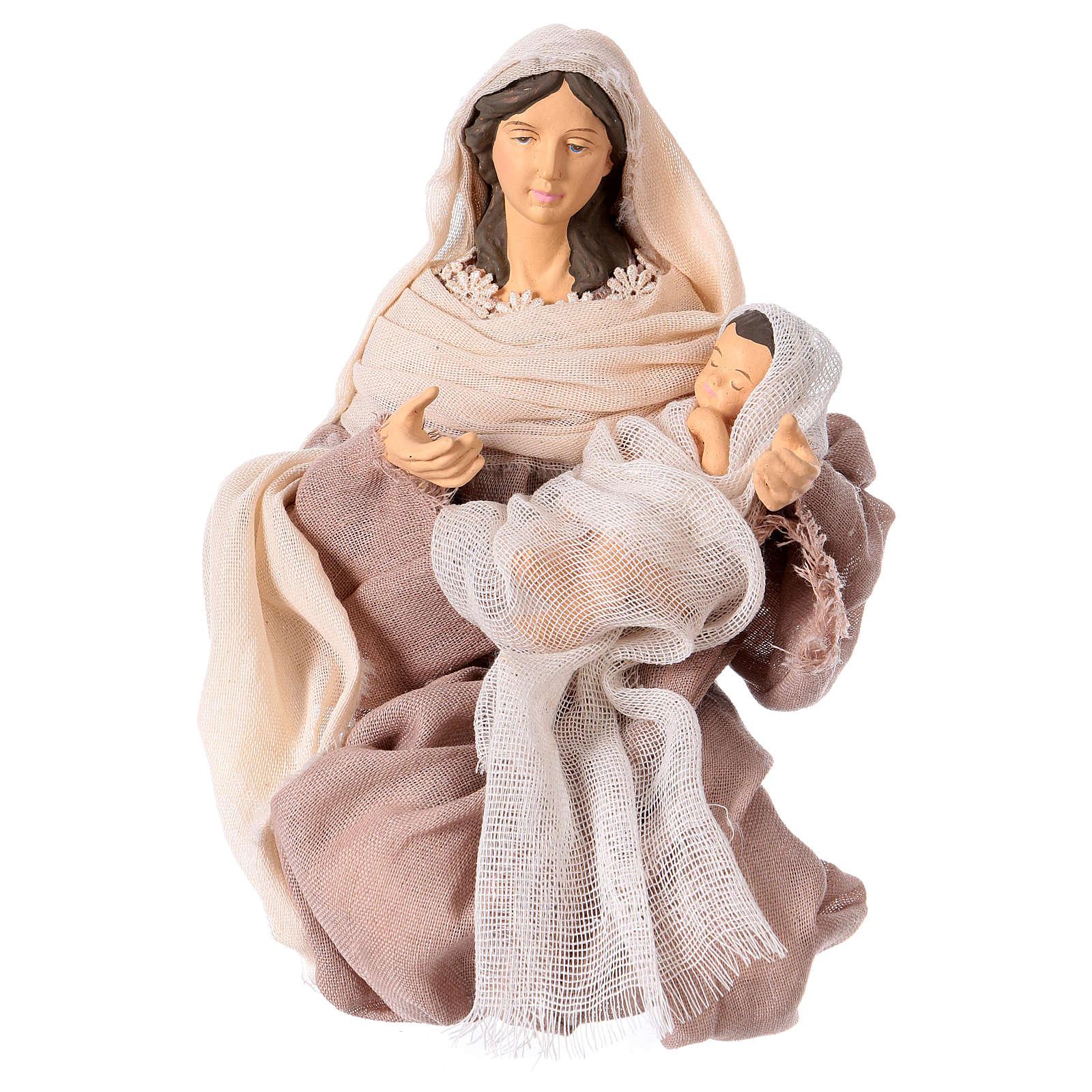 Natività 36 cm resina e tessuto rosa stile Shabby Chic 3
