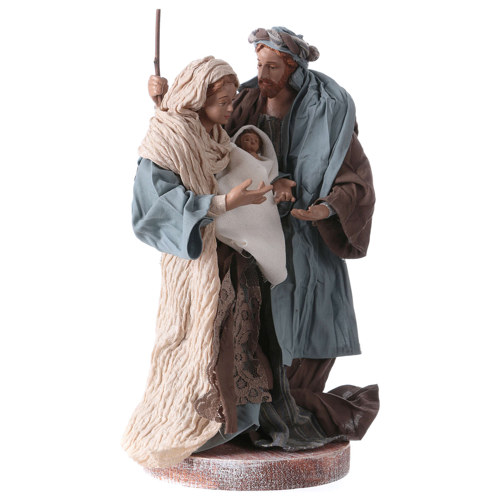 Holy Family 20 cm resin and brown and blue cloth Shabby Chic style 3