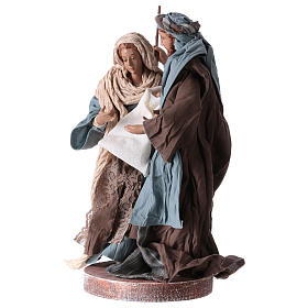 Holy Family 20 cm resin and brown and blue cloth Shabby Chic style s2
