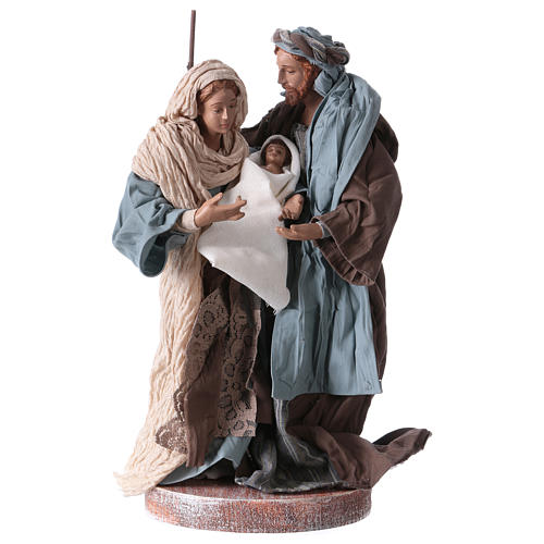 Holy Family 20 cm resin and brown and blue cloth Shabby Chic style 1