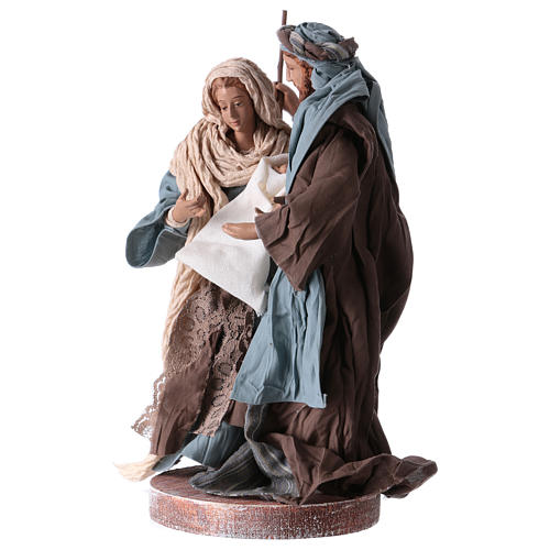 Holy Family 20 cm resin and brown and blue cloth Shabby Chic style 2