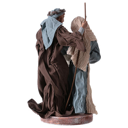 Holy Family 20 cm resin and brown and blue cloth Shabby Chic style 4