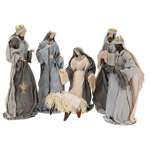 Holy Family and Three Wise Men 46 cm resin and grey and purple cloth 1