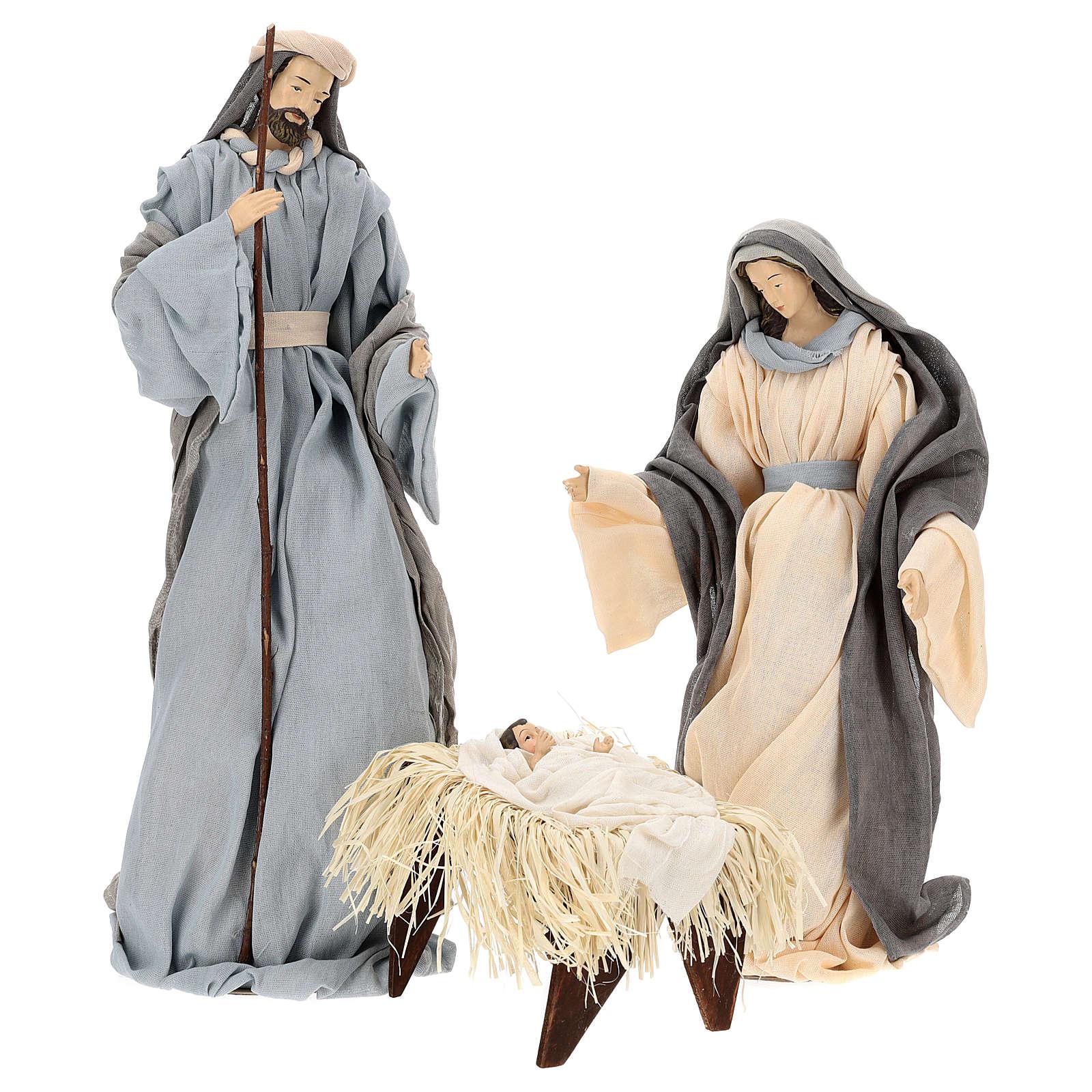 Natividad y reyes magos 46 cm resina tela violeta gris 3