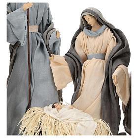 Natividad y reyes magos 46 cm resina tela violeta gris s3