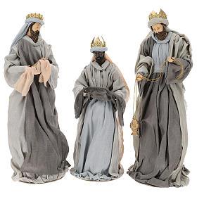 Natividad y reyes magos 46 cm resina tela violeta gris s8