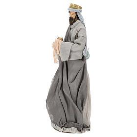 Natividad y reyes magos 46 cm resina tela violeta gris s9