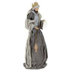 Natividad y reyes magos 46 cm resina tela violeta gris s10