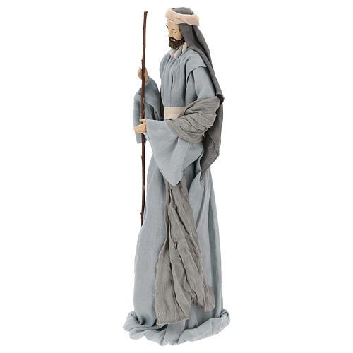 Natividad y reyes magos 46 cm resina tela violeta gris 5